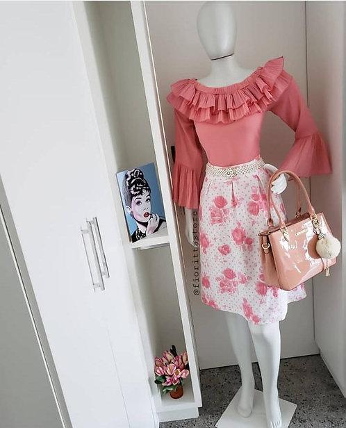 Blusa rosa detalhes plissados