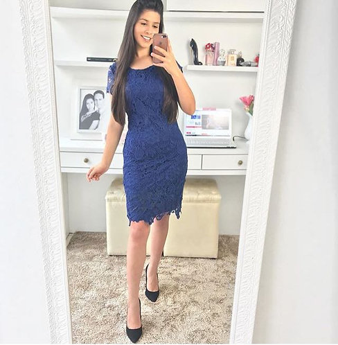 Vestido azul guippir tubinho midi