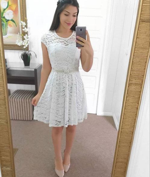Vestido branco renda princesa