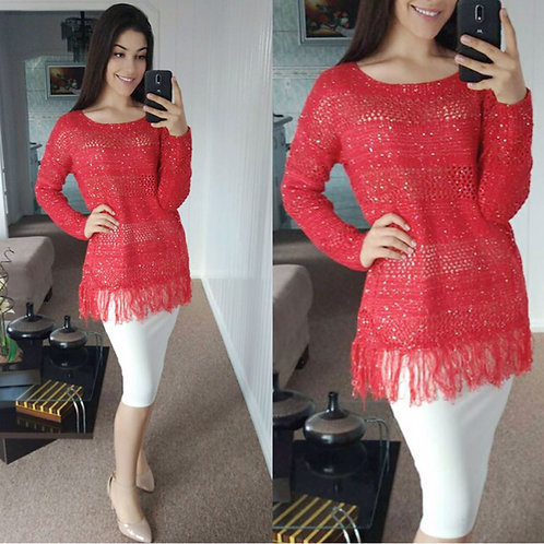 Blusa tricot paetes coral