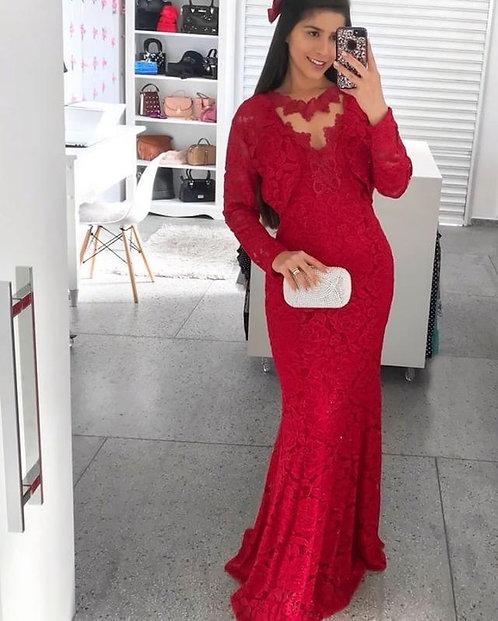 vestido vermelho renda com bolero