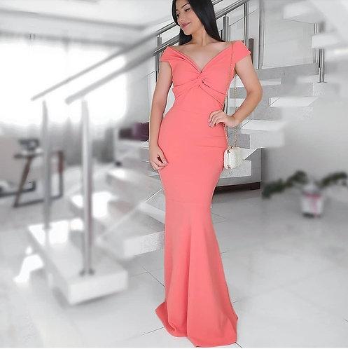 Vestido Helena coral.