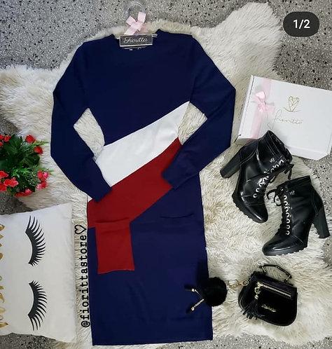 Vestido bicolor trico midi
