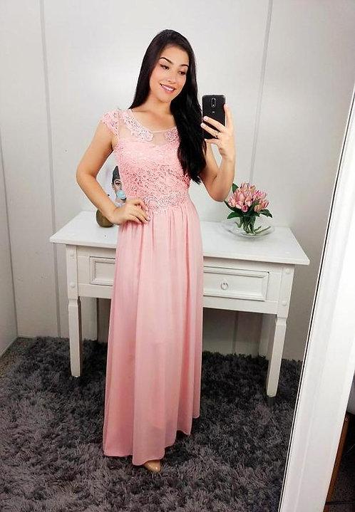 Vestido de festa rose tule e guippir