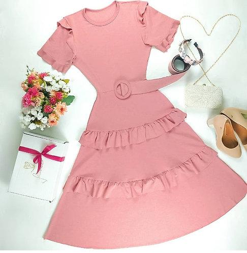 Vestido rose detalhes babados ( acompanha o cinto)