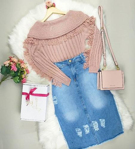 Blusa tricot rose manga longa