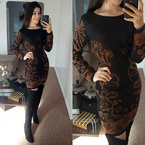 Vestido lã P&marrom flores