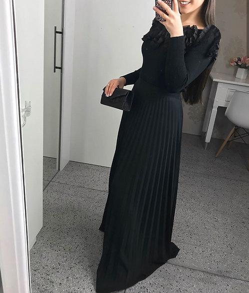 Blusa trico modal preto frufru