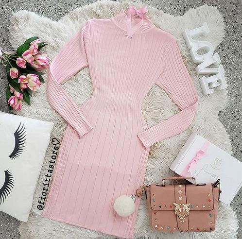 Vestido rose tricot