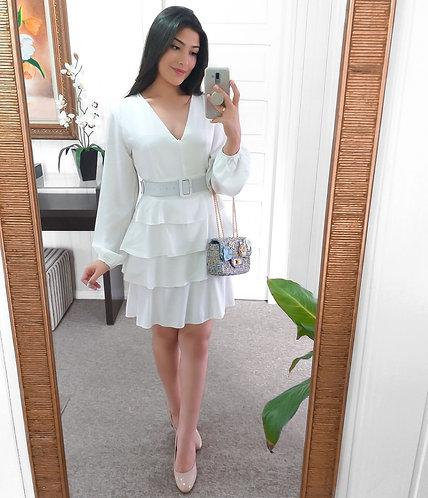 Vestido babados branco.