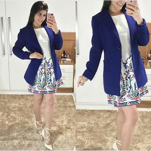 Casaco azul lã alongado