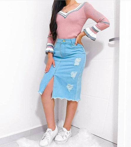 Blusa rose tricot  listras manga flare