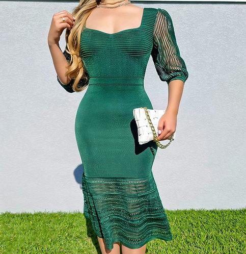 Vestido Valentina verde intenso.