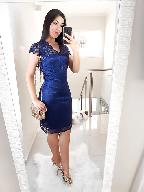Vestido renda azul