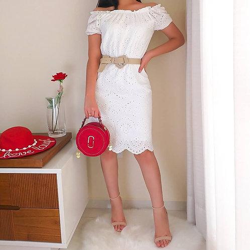 Vestido midi branco lese