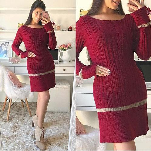 Vestido lã marsala