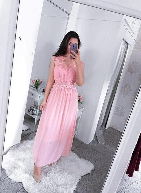 Vestido de festa rose detalhea tule pérolas
