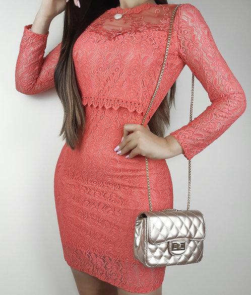 Vestido Lavínia coral .