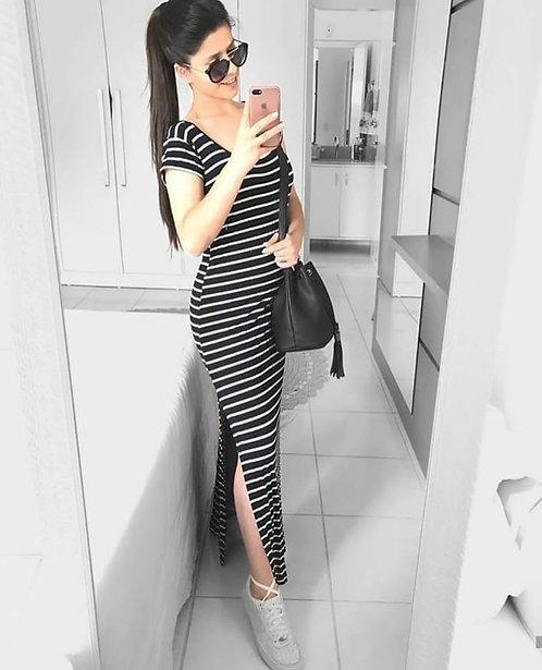 Vestido listras longo