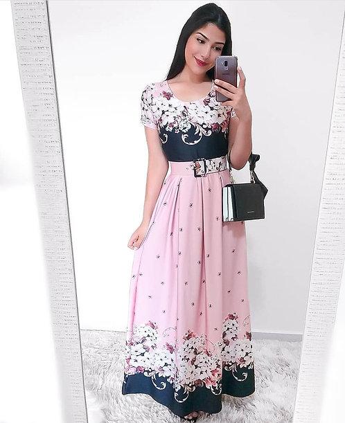 Vestido longo fundo rose floral + cinto