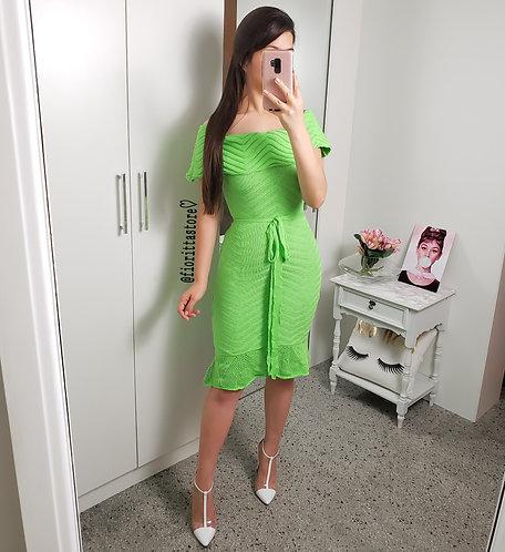 Vestido verde neon tricot ombro a ombro