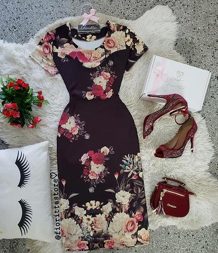 Vestido midi floral fundo preto