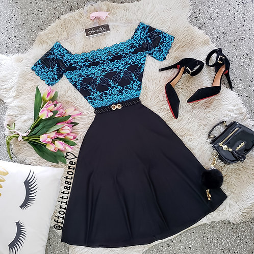 Body renda preto & azul