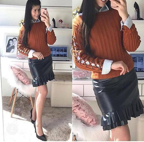 Blusa tricot caramelo manga amarração
