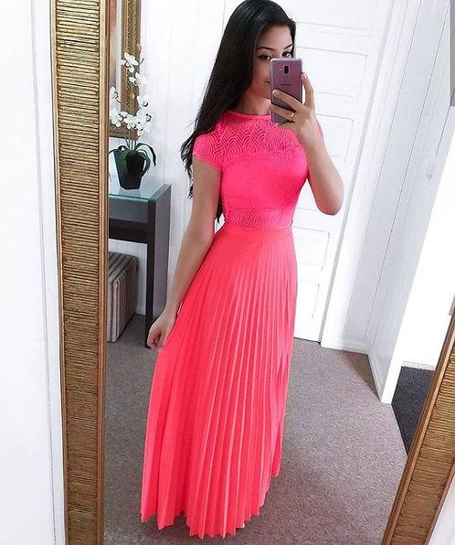 Saia longa plissada pink neon