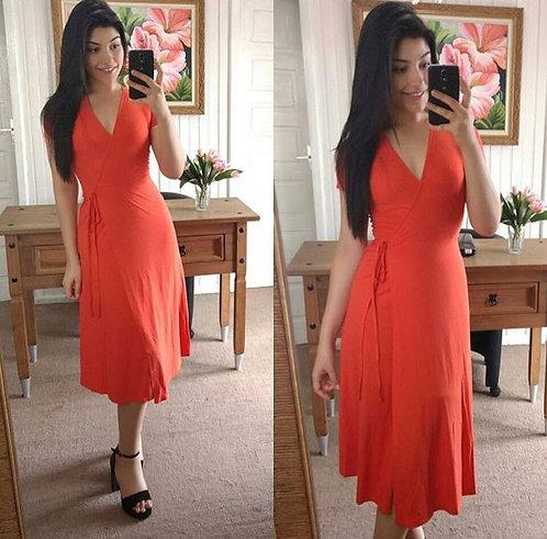 Vestido malha canelada laranja