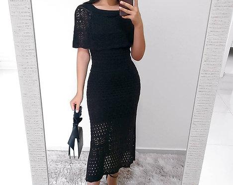 Vestido preto longo tricot
