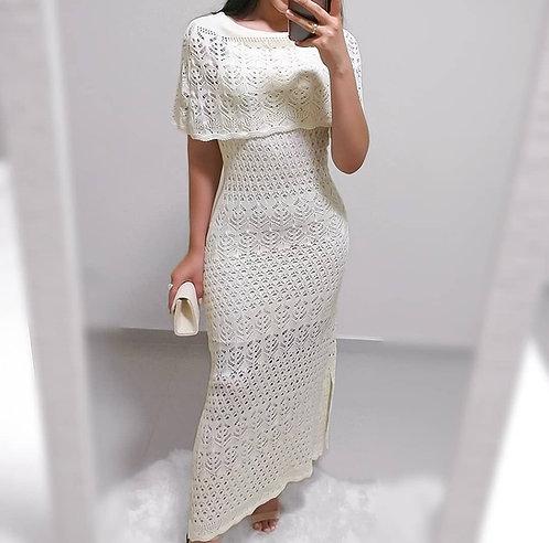vestido tricot longo  off white