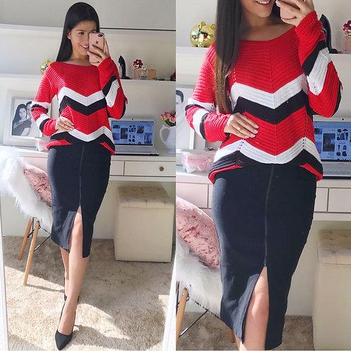 Blusa tricot listras preta e branca