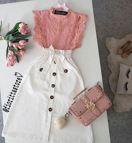 Blusa rose renda