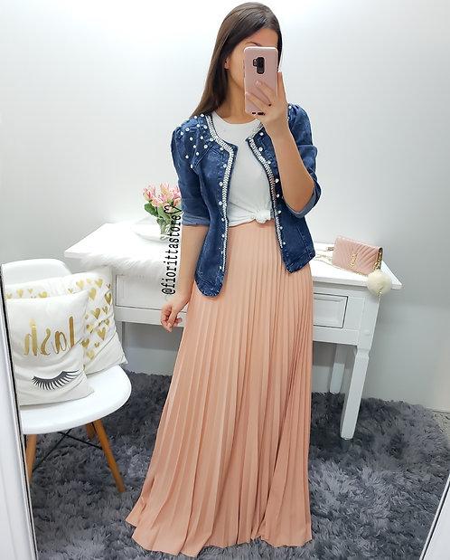 Casaqueto jeans pérolas