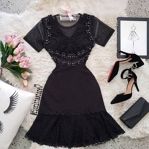 Vestido preto pedraria