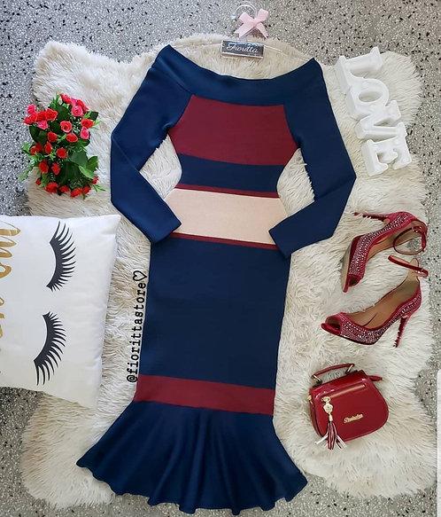 Vestido tricot azul marinho listras midi peplum
