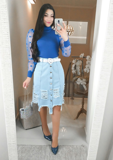 Blusa Love azul.