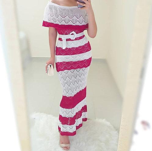 Vestido branco e pink tricot longo