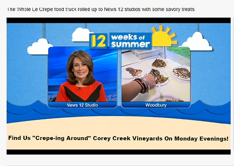 Whole Le Crepe News 12 Long Island Tina Paola, Long Island Food Truck Catering, Organic Catering Long Island, Wedding Catering Long Island, Food Truck Wedding Catering Long Island, Organic Wedding Catering Long Island