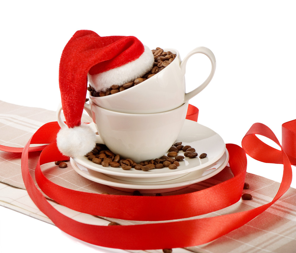 Holiday Coffee Cups with Coffee Beans