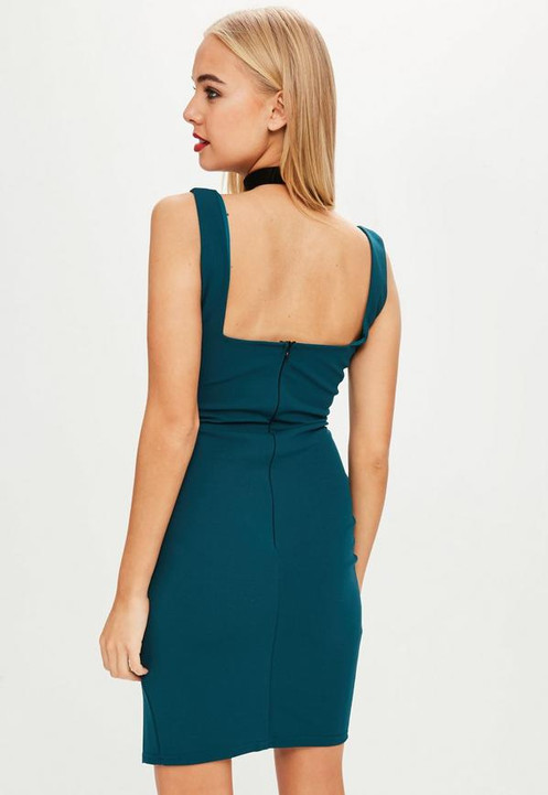 7a66590d3e3d0 teal square neck side split mini dress