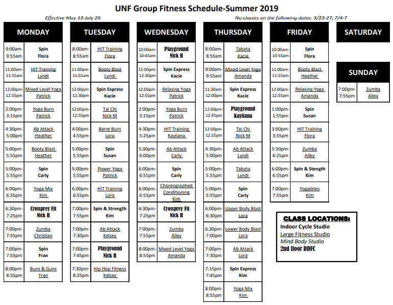 UNF group fitness schedule for the Summer of 2019.