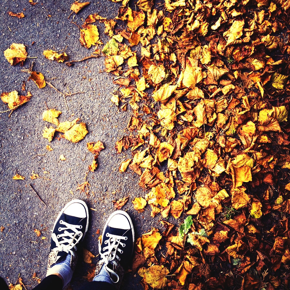 Fall leaves and someones shoes from a birds eye view.