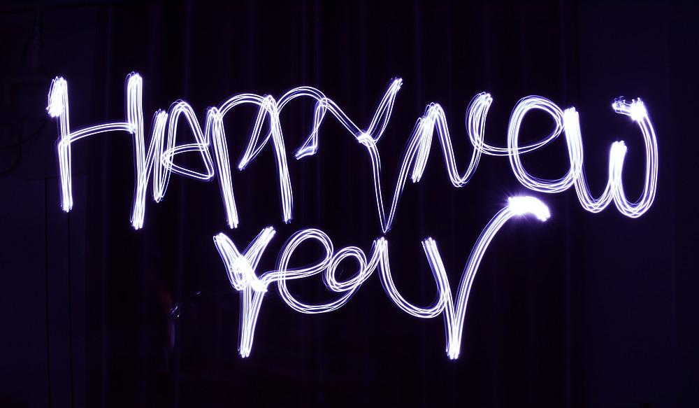 happy new year written in lights