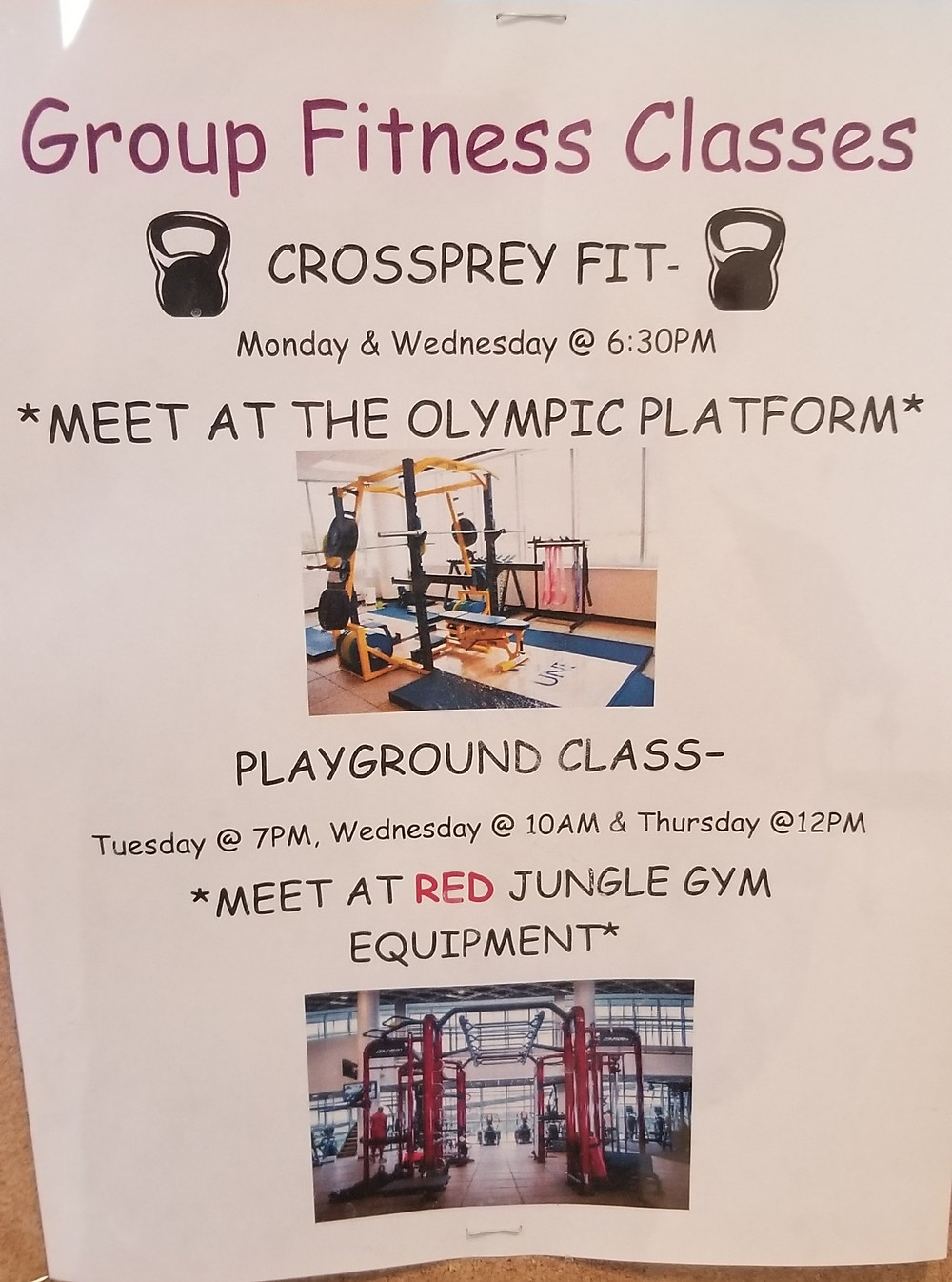 A group fitness classes poster.