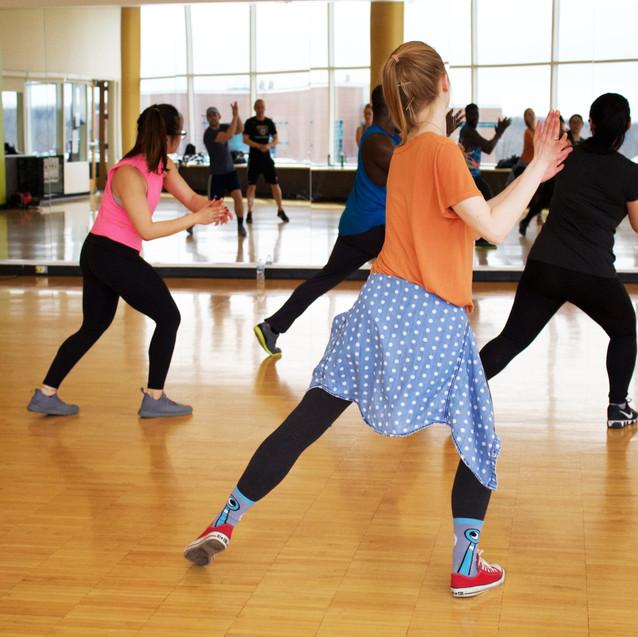 Girls doing a dance class.