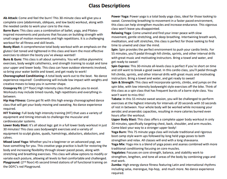 Group fitness class types and their descriptions.
