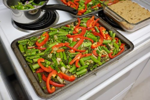 A pan of vegetables roasted