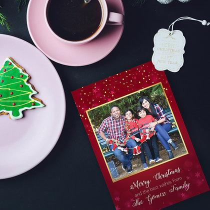 Postal de Navidad - Roja y Dorado